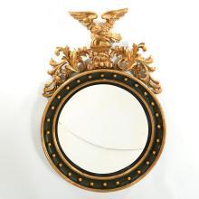 Very large Regency giltwood convex mirror