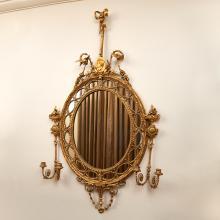 George III style gilt composition girandole mirror