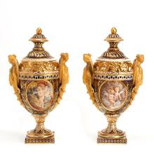 Pair Derby cobalt and gold ground urns and covers