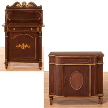 (2) Regency grain painted side cabinets