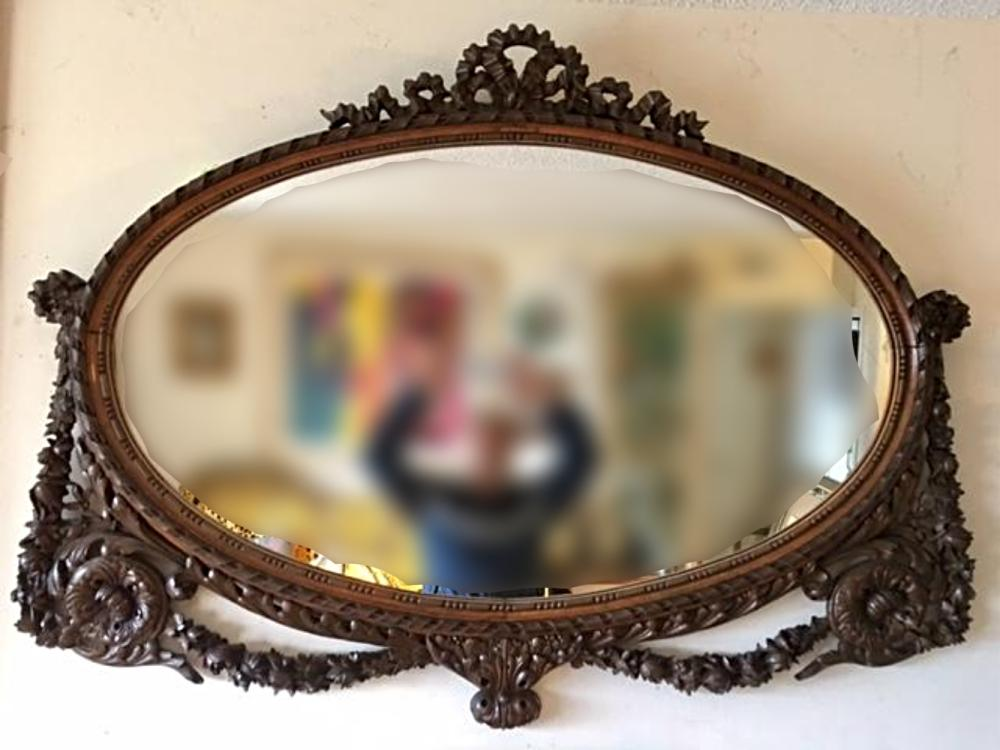 Large Antique Ornate Carved Wood Oval Mirror Floral Ribbon