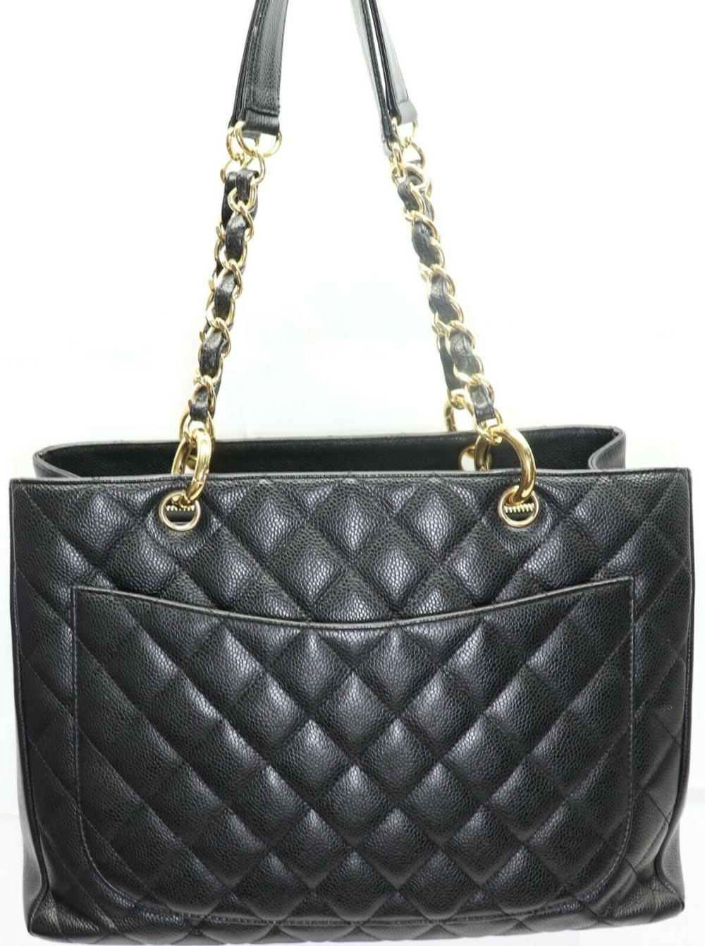 2e3ec41f6cfbd2 Chanel GST Grand Shopping Black Caviar Quilted Leather Bag