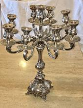 "Lot 2: Antique X-Large 21.5"" Tall Sterling Silver 9 Arm Heavy Candelabra"
