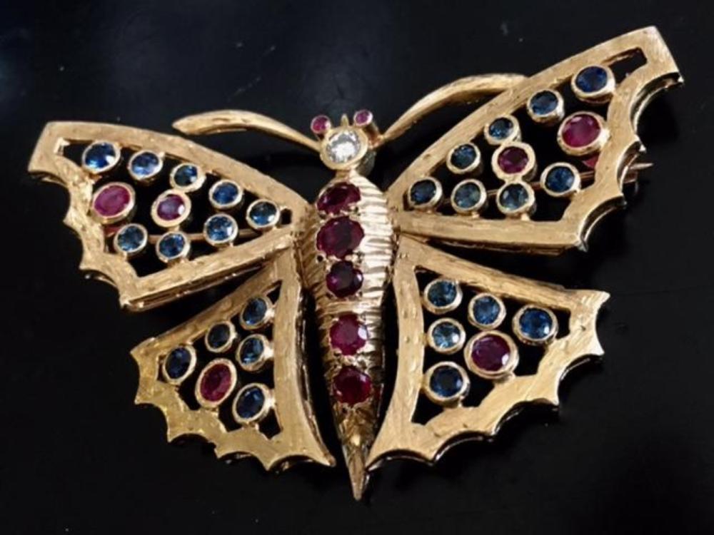 Antique 1930s Butterfly Brooch 14K Gold Diamond Ruby