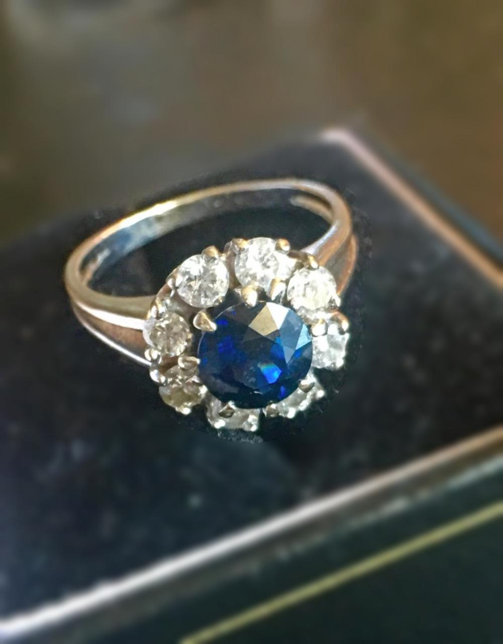 Dark Blue Sapphire and Diamond 14K Gold Ring