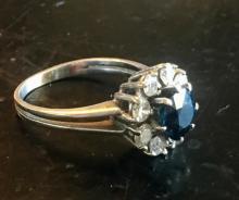 Lot 50: Dark Blue Sapphire and Diamond 14K Gold Ring
