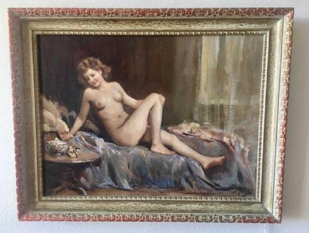 Lot 5: ATTILIO TORO (Italian, 1892-1982) Oil Painting Nude