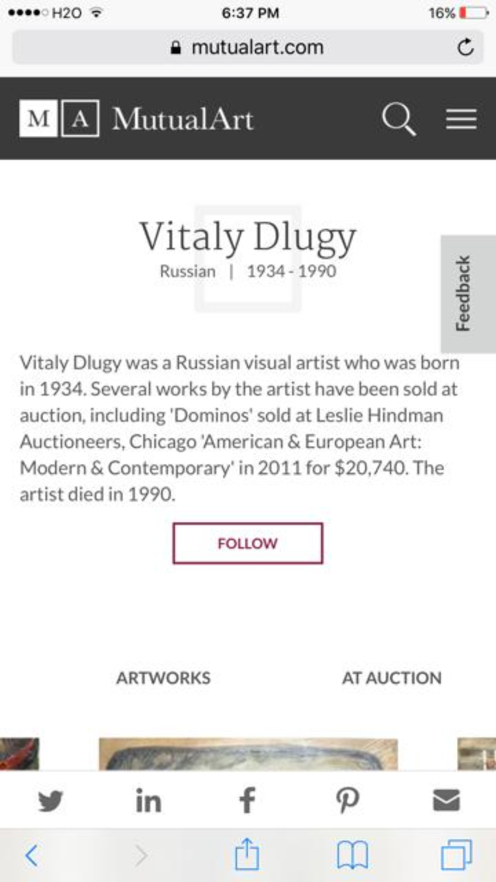 Lot 9: VITALY DLUGY (Russian, 1934-1990) Painting Oil Gouache