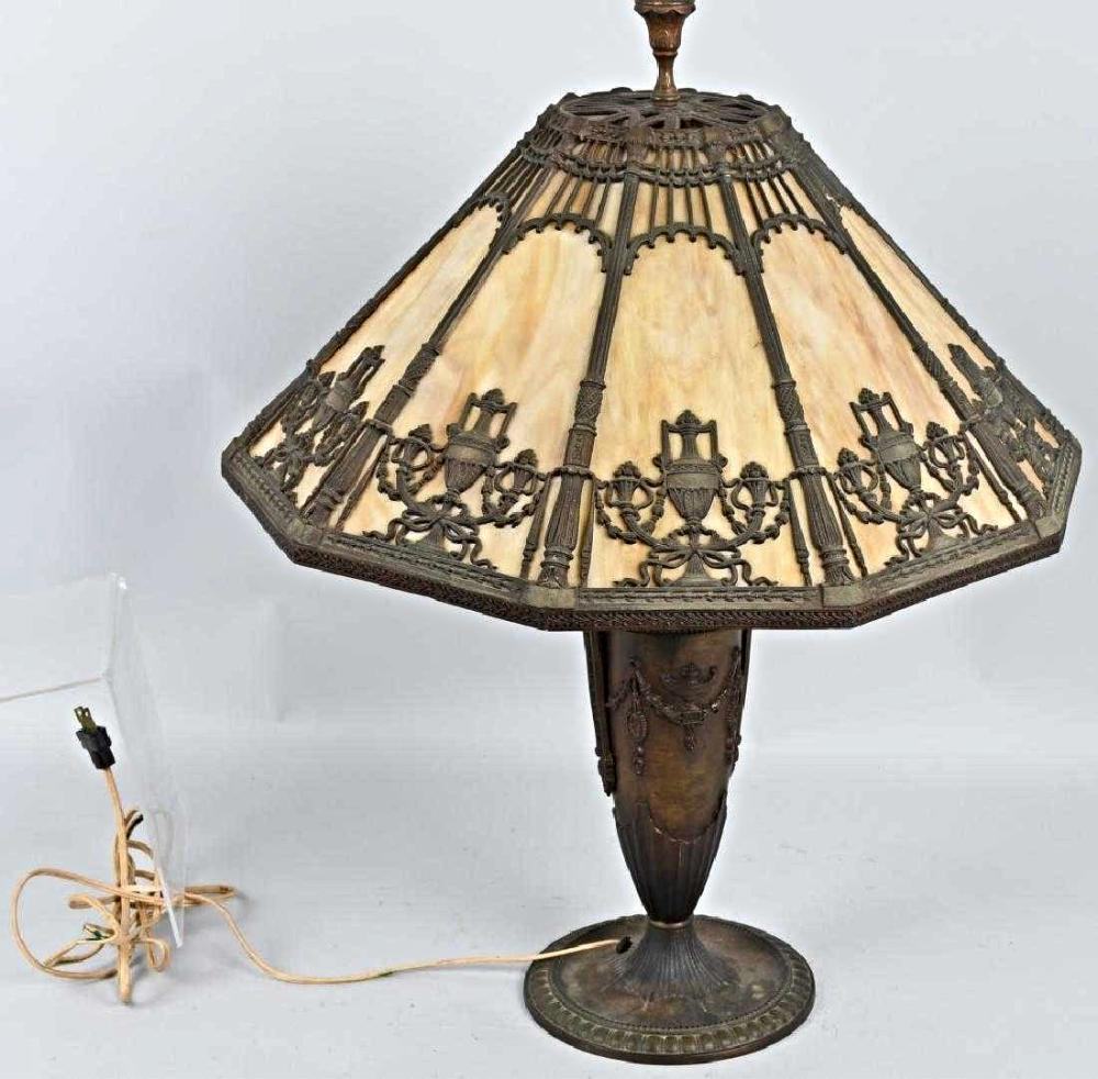 Antique BRADLEY HUBBARD 10 Panel SLAG GLASS BRONZE LAMP