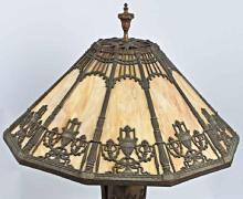 Lot 18: Antique BRADLEY HUBBARD 10 Panel SLAG GLASS BRONZE LAMP