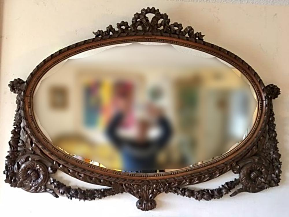 Antique Large Ornate Carved Wood Oval Mirror Ribbon & Garland