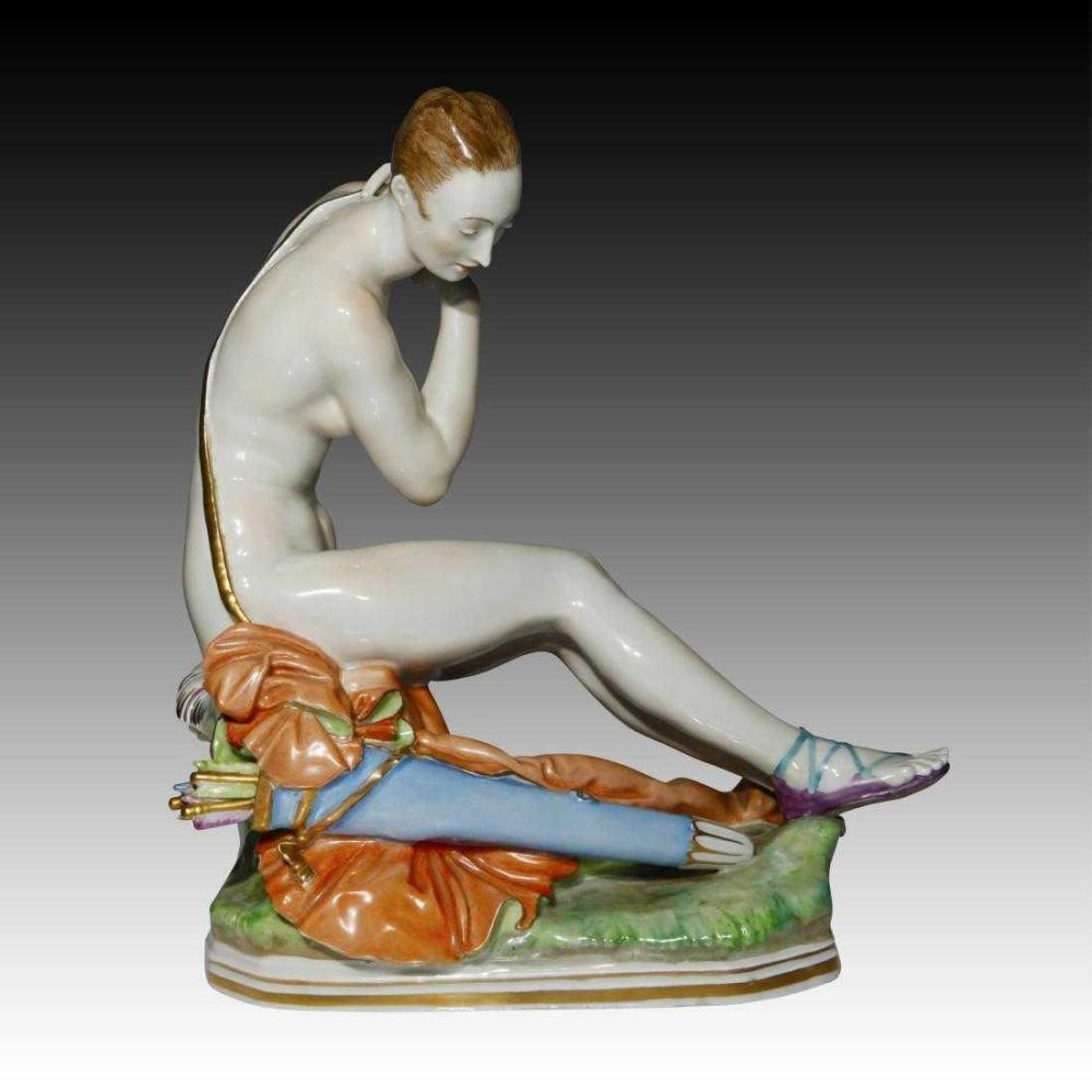 MEISSEN Large Rare Porcelain Figurine Nude Diana