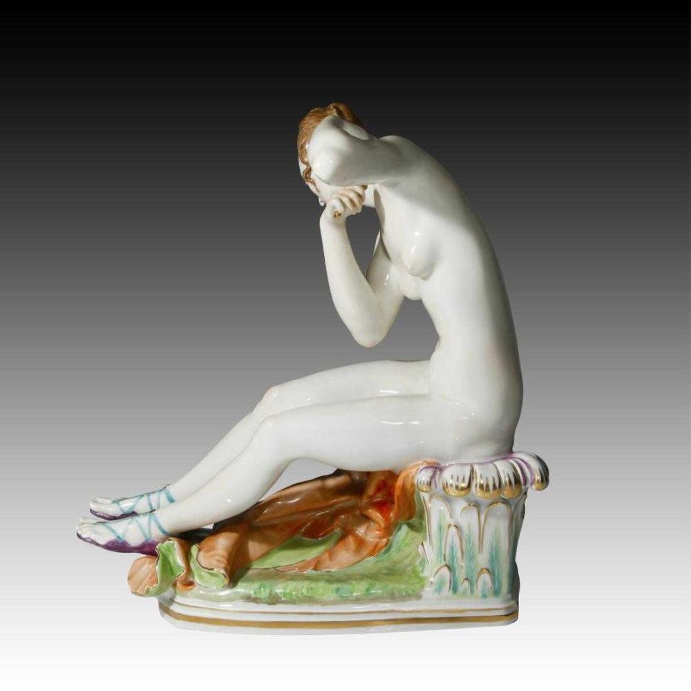 Lot 21: MEISSEN Large Rare Porcelain Figurine Nude Diana