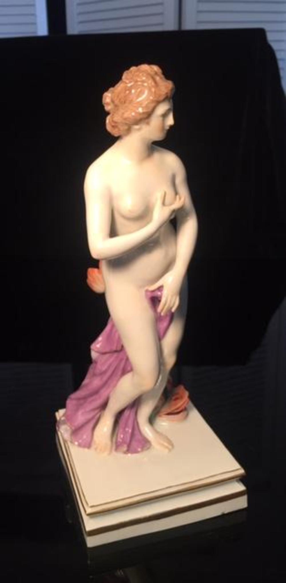 MEISSEN Nude Porcelain Figurine Nymph w Fish