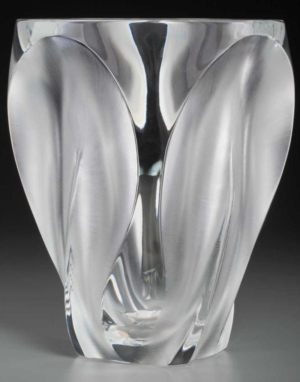 LALIQUE France LARGE Ingrid Vase Frosted & Clear Glass