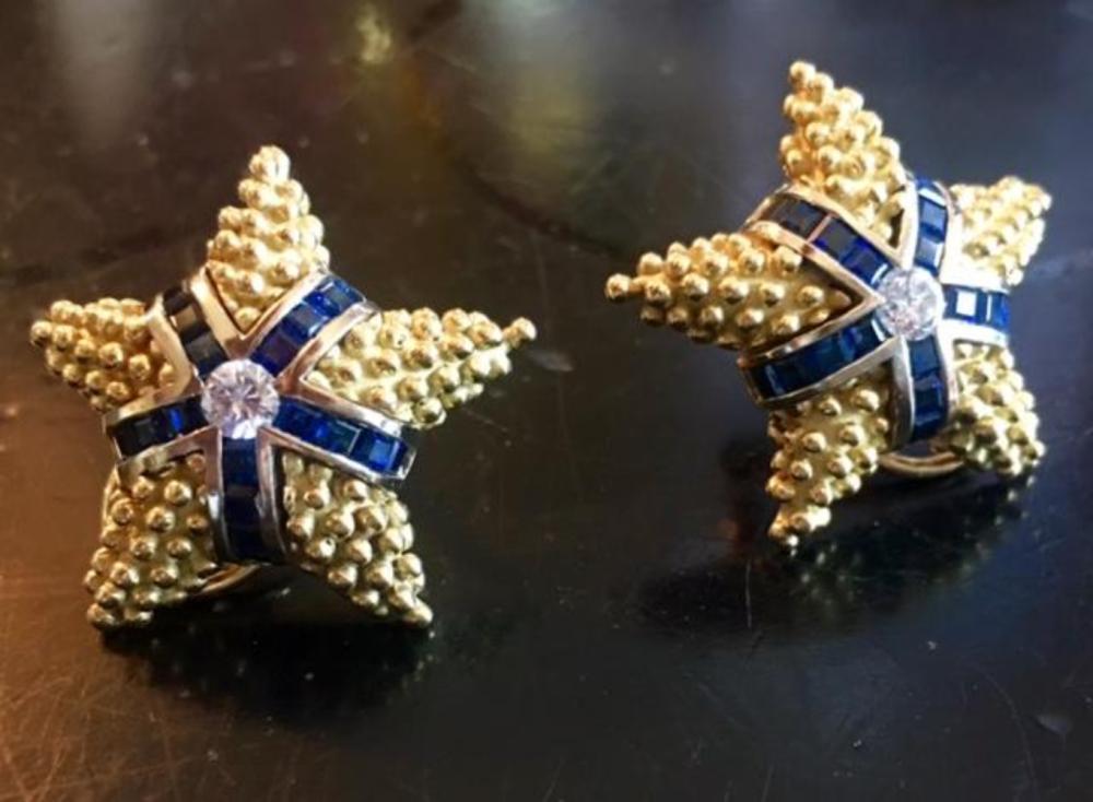 Starfish Caviar 18K Gold Diamond Sapphire Earrings