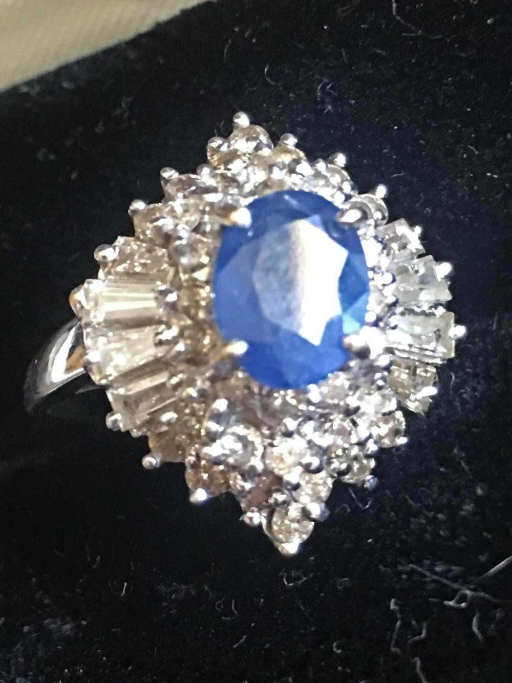 Diamond Sapphire 18K White Gold Ladies Coctail Ring