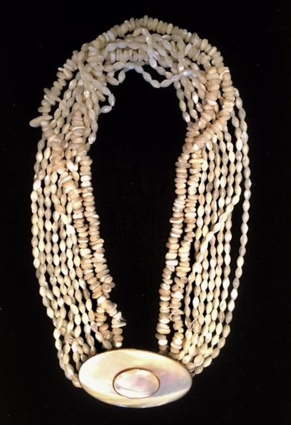 Large 9 Strand Pearl Necklace signed By Gloria