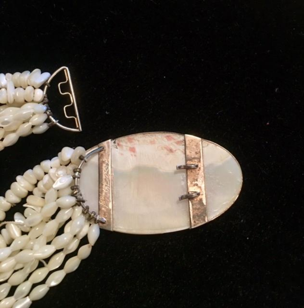 Lot 44: Large 9 Strand Pearl Necklace signed By Gloria