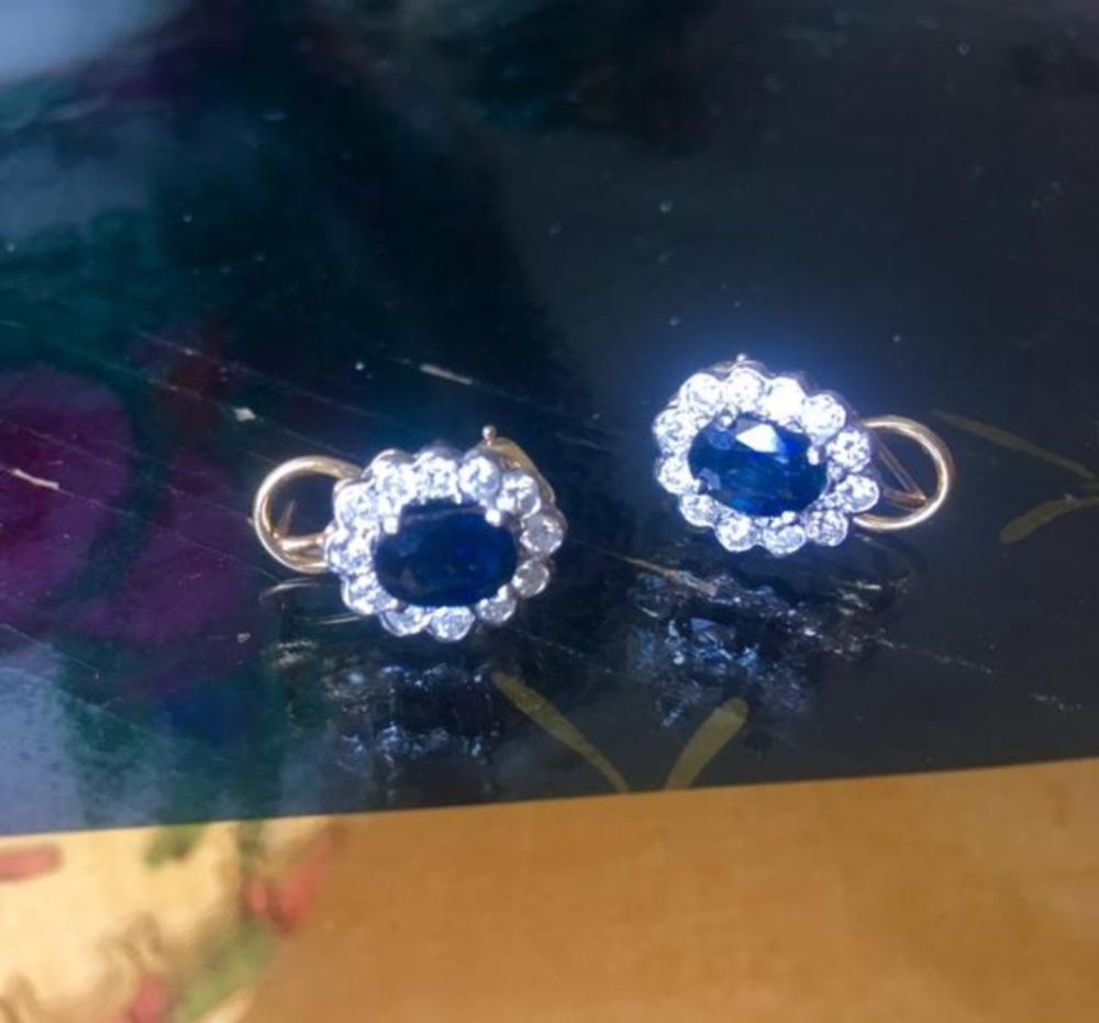 Diamond Sapphire 14K White & Yellow Gold Earrings