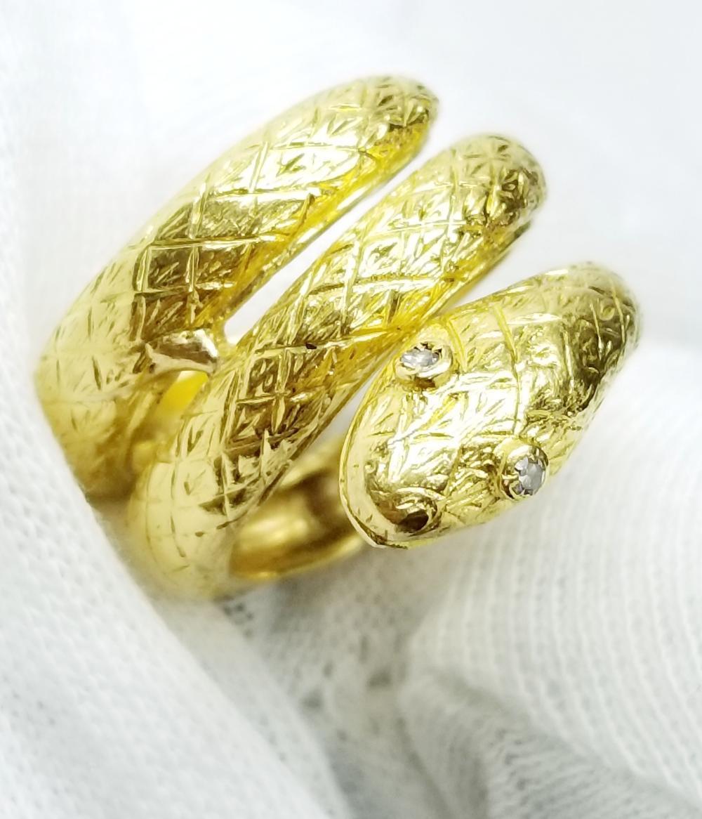 Womens JULIRO 18k Yellow Gold Diamond Eyes Snake Diamonds Ring Size 6