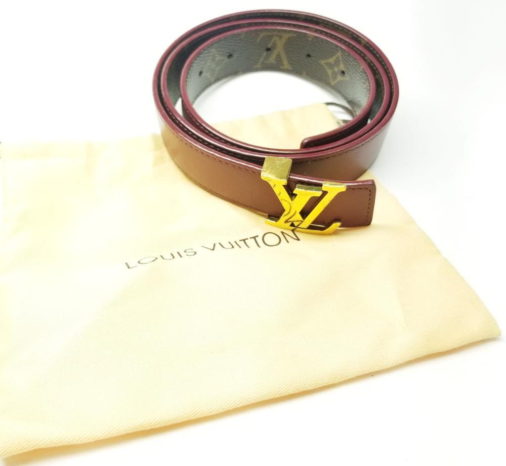 Designer Authentic Ladies Louis Vuitton Purple Monogram Belt w/ Box