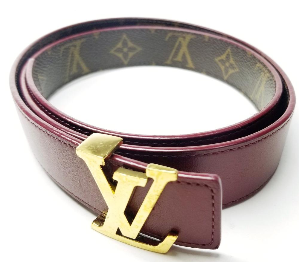 Lot 75: Designer Authentic Ladies Louis Vuitton Purple Monogram Belt w/ Box