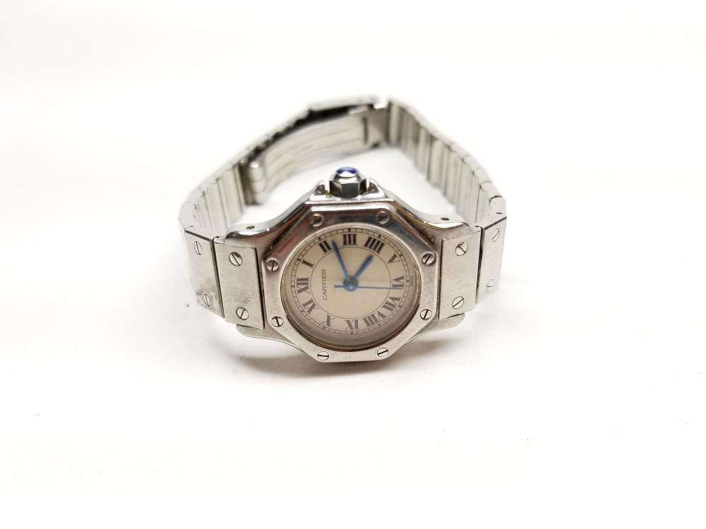 Lot 90: Designer Ladies Cartier Octagon St. Steel Automatic Watch