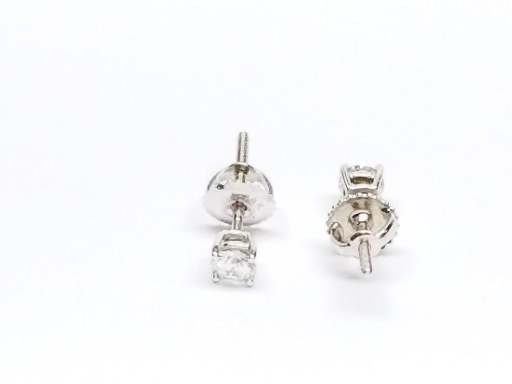 Womens 14k White Gold Diamond Stud Solitaire Srew Back Earrings