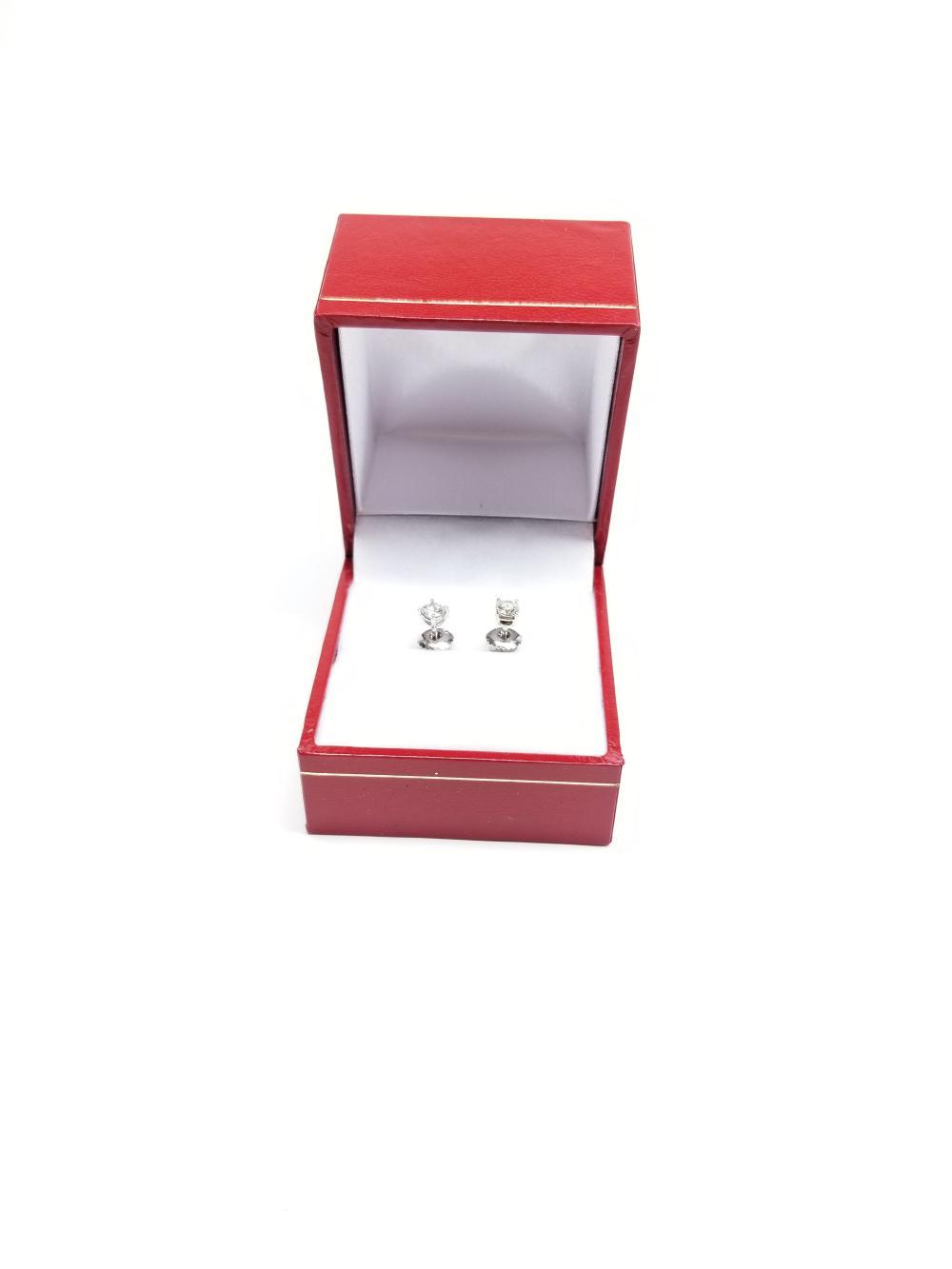 Lot 96: Womens 14k White Gold Diamond Stud Solitaire Srew Back Earrings