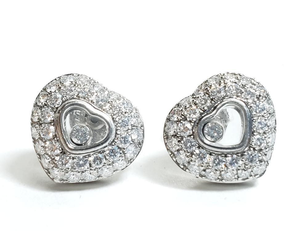 Chopard Womens 18k White Gold Heart Happy Diamond Earrings