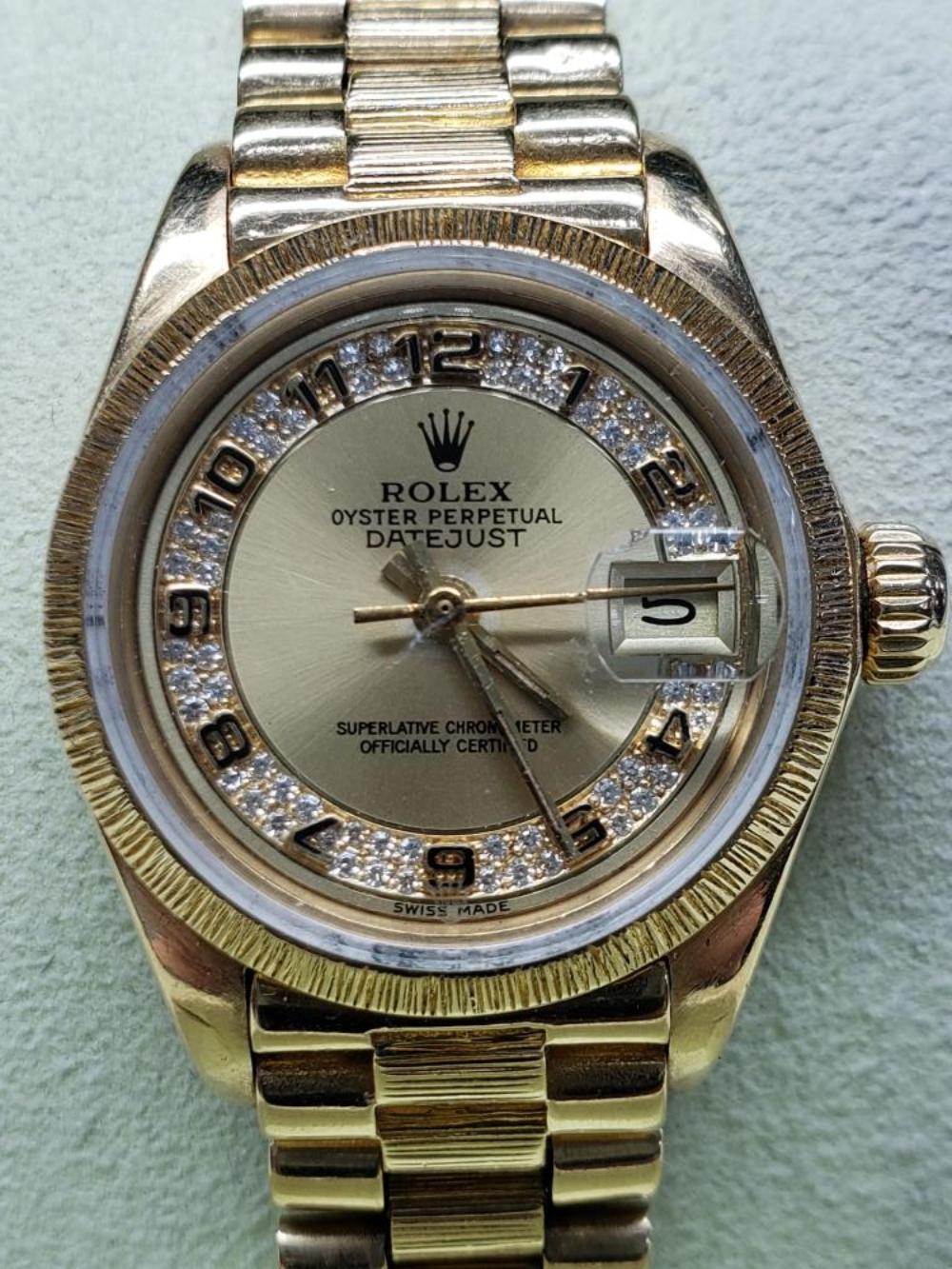 Rolex President Oyster Perpetual DateJust 18k Yellow Gold Myriad Diamond Dial Watch