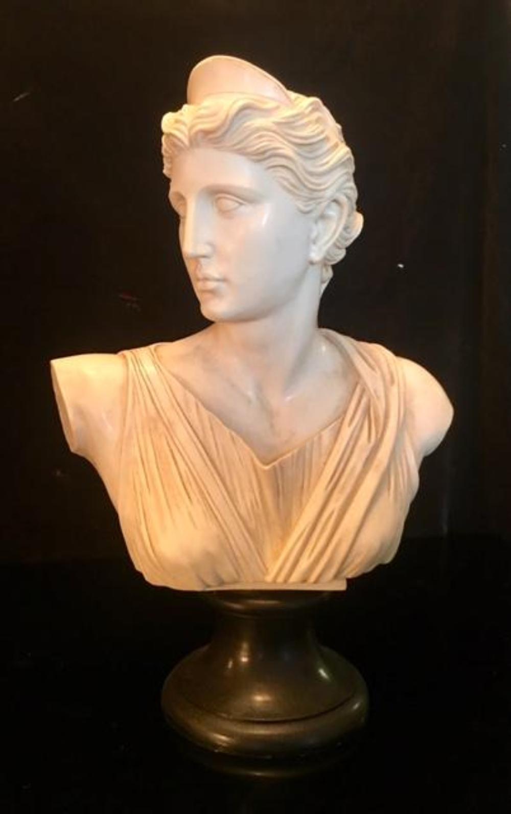 "Large 19"" Italian Alabaster Sculpture Bust of Greek Goddess"