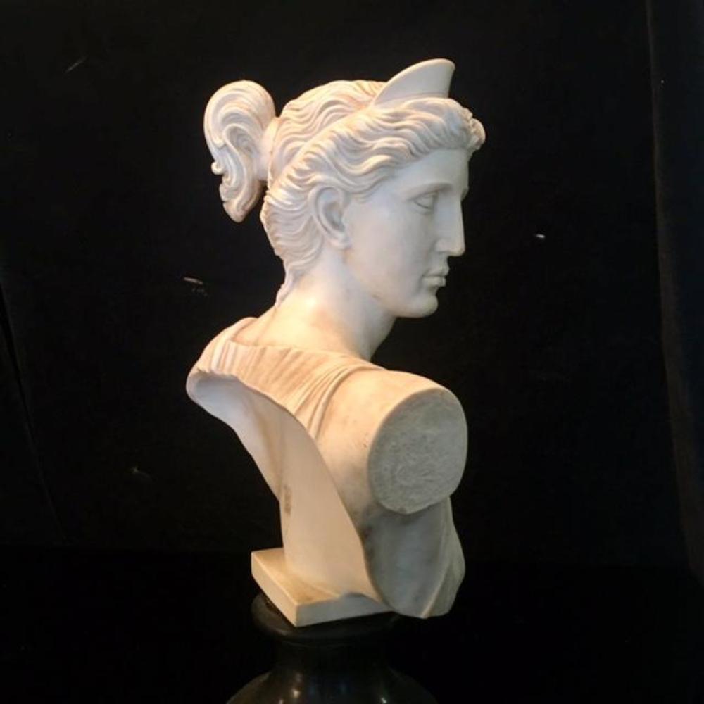 "Lot 37: Large 19"" Italian Alabaster Sculpture Bust of Greek Goddess"