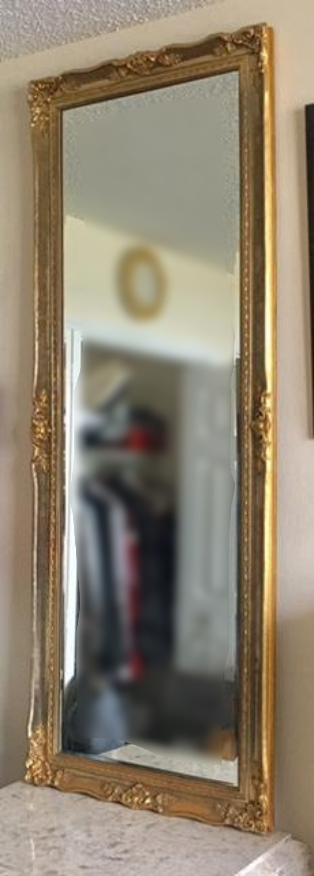 Lot 39: LARGE Continental Carved Giltwood Mirror