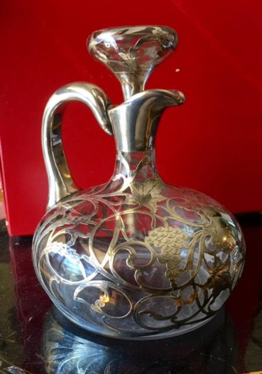 Antique American Sterling Silver Overlay Decanter