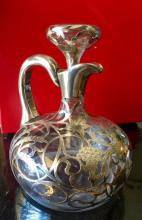 Lot 27: Antique American Sterling Silver Overlay Decanter