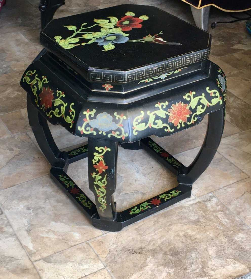 Antique Chinese Coromandel lacquer taboret stool