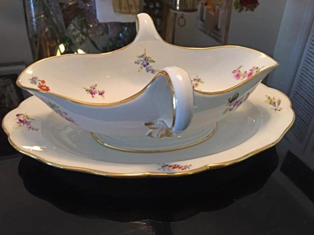 Antique MEISSEN Porcelain Large Gravy Boat Floral Design