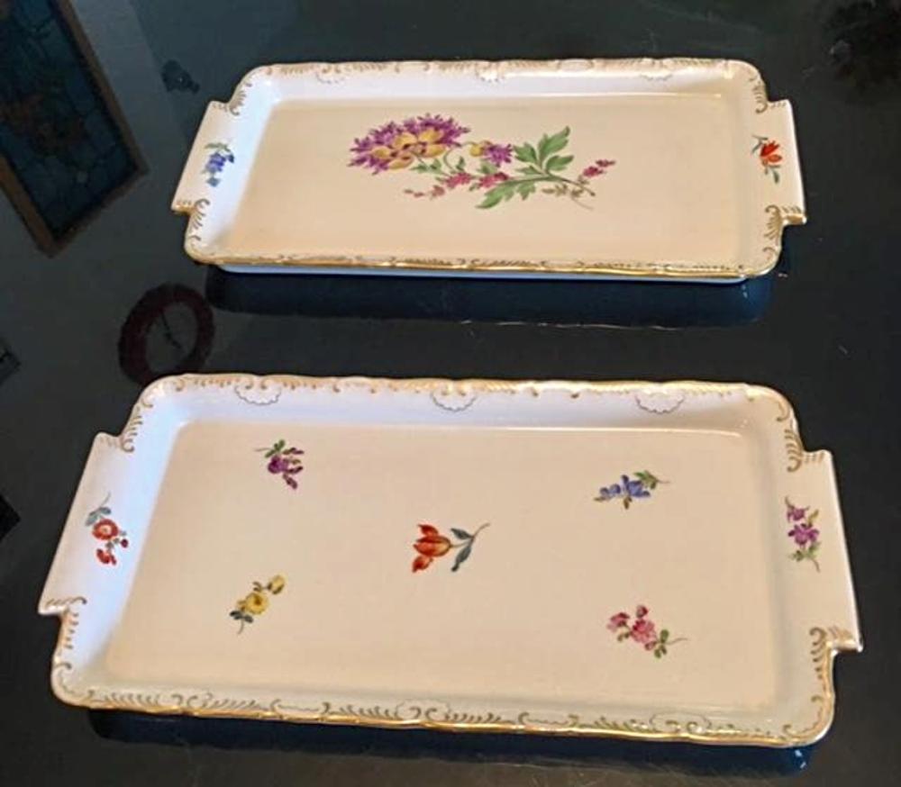 Pair of Antique MEISSEN Porcelain Trays Floral Dishes