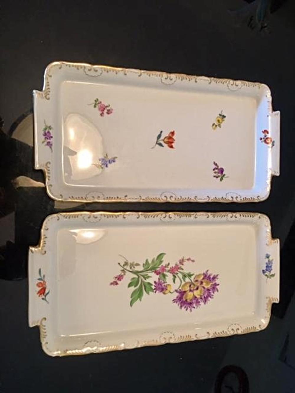 Lot 33: Pair of Antique MEISSEN Porcelain Trays Floral Dishes
