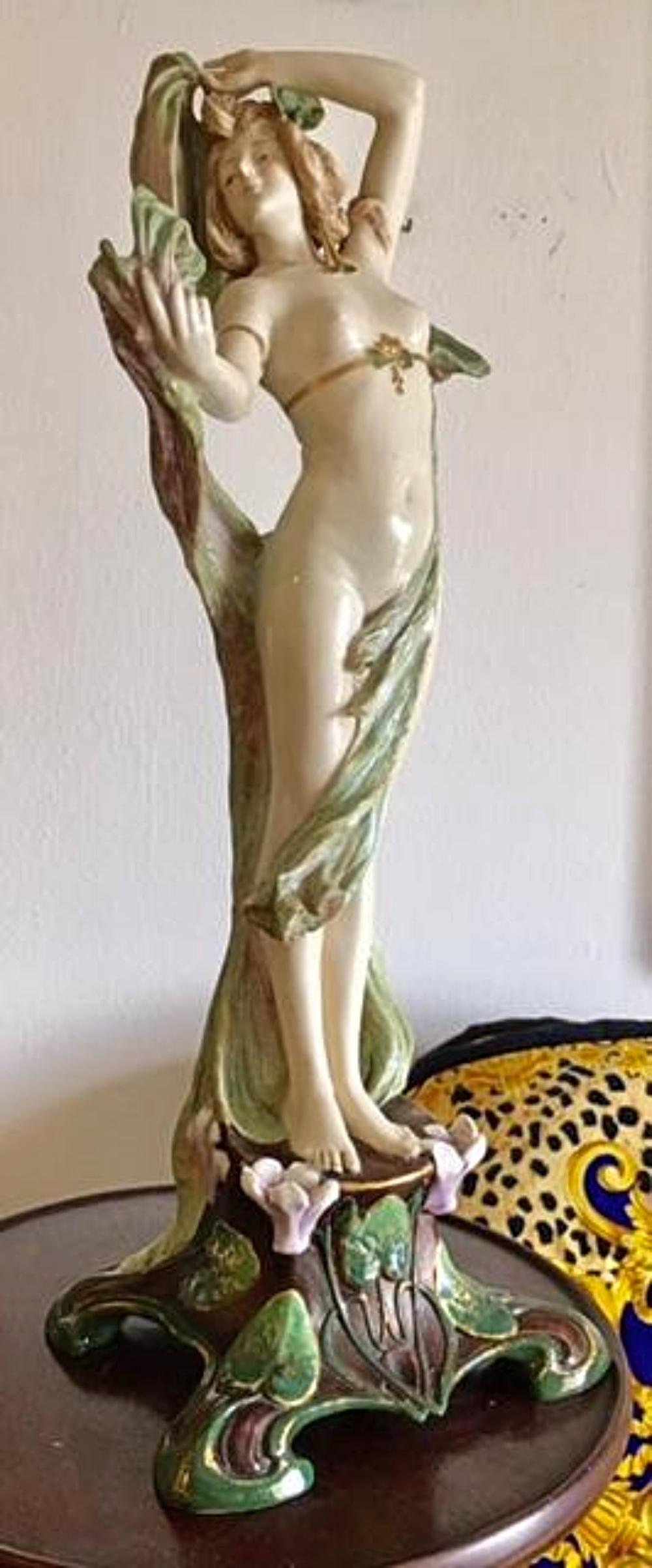 Lot 12: RIESSNER, STELLMACHER & KESSEL Amphora Depose Turn Wien Teplitz Nude Figure Statue