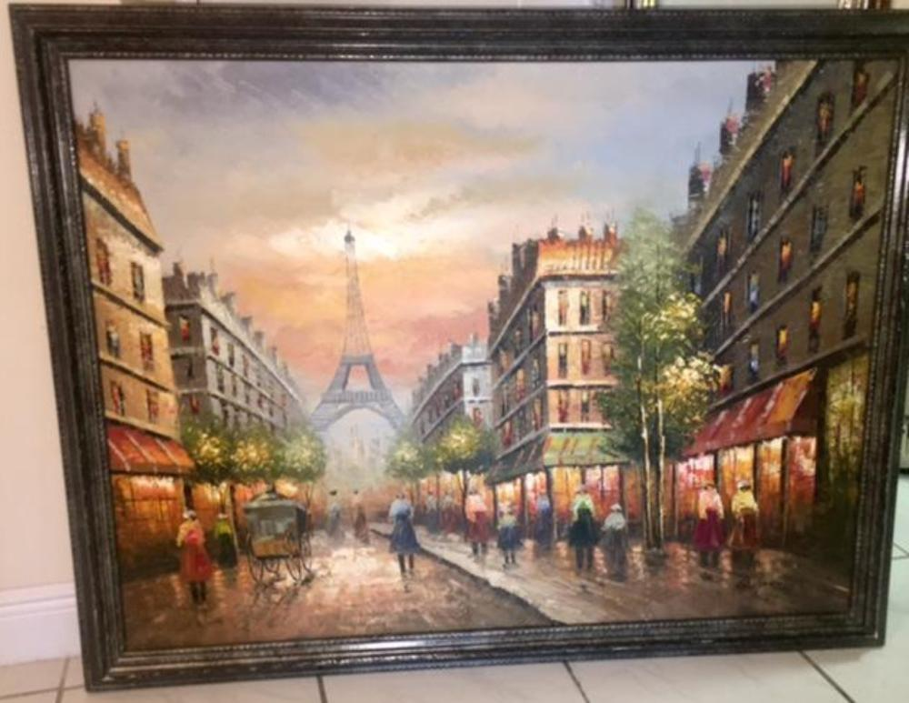 Lot 101: R.Young Large Oil on Canvas Painting Paris Scene Eiffel Tower