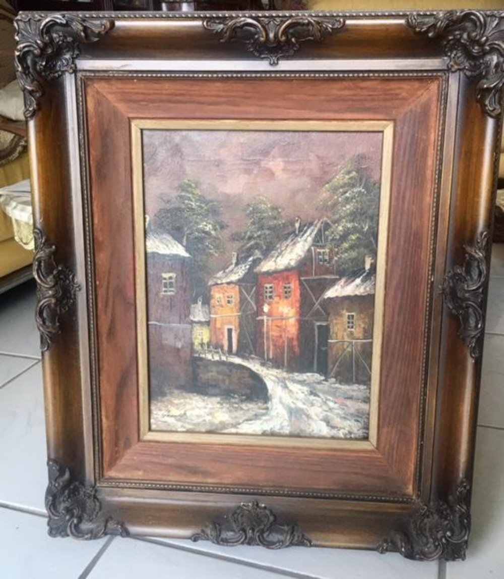 Mystery Artist Signed Oil on Canvas Painting