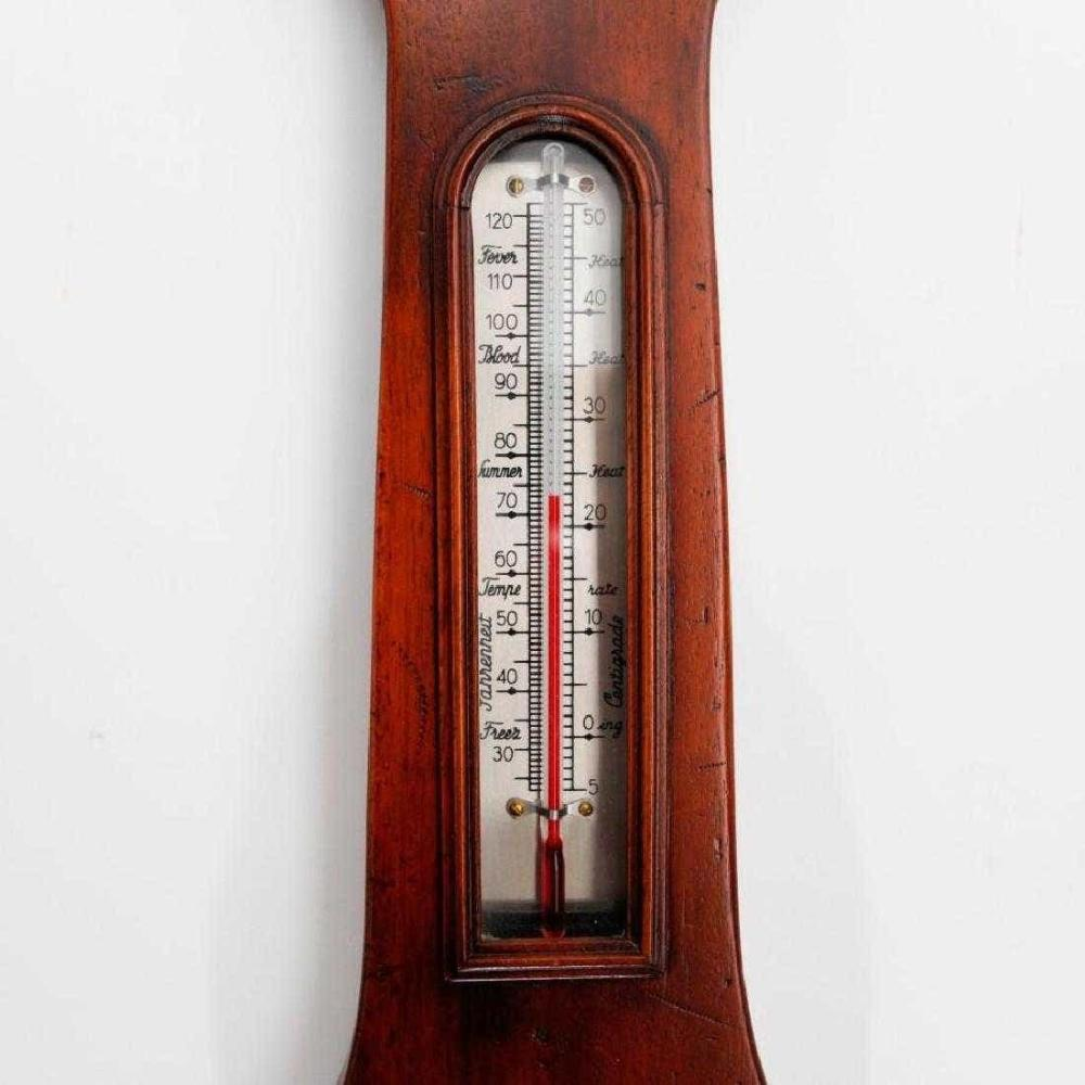 Lot 105: Bollenbach Mahogany Wall Barometer Clock Thermometer
