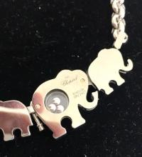 Lot 150: CHOPARD 18K White Gold Elephant Happy Diamonds Necklace