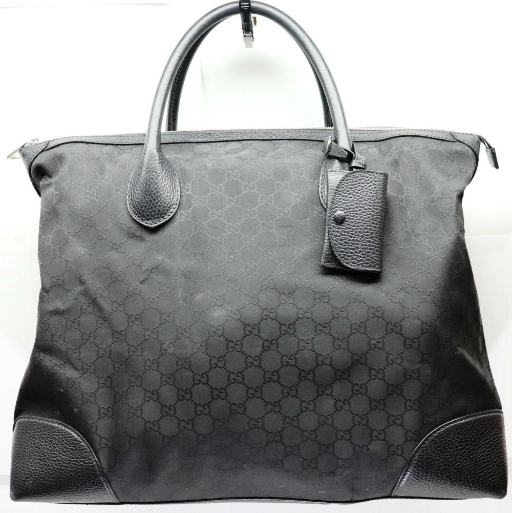 Gucci GG Guccissima Black Large Canvas and Leather Carry On Tote Travel Bag