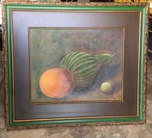 Lot 107: Vintage Oil Painting on Board Still Life with Fruit and Vegetables Signed Coral G