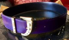 Lot 108: Gianni Versace Art Deco Purple Leather and Pearl Belt