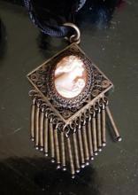 Lot 109: Victorian Cameo Filigree Silver Choker Necklace Pendant